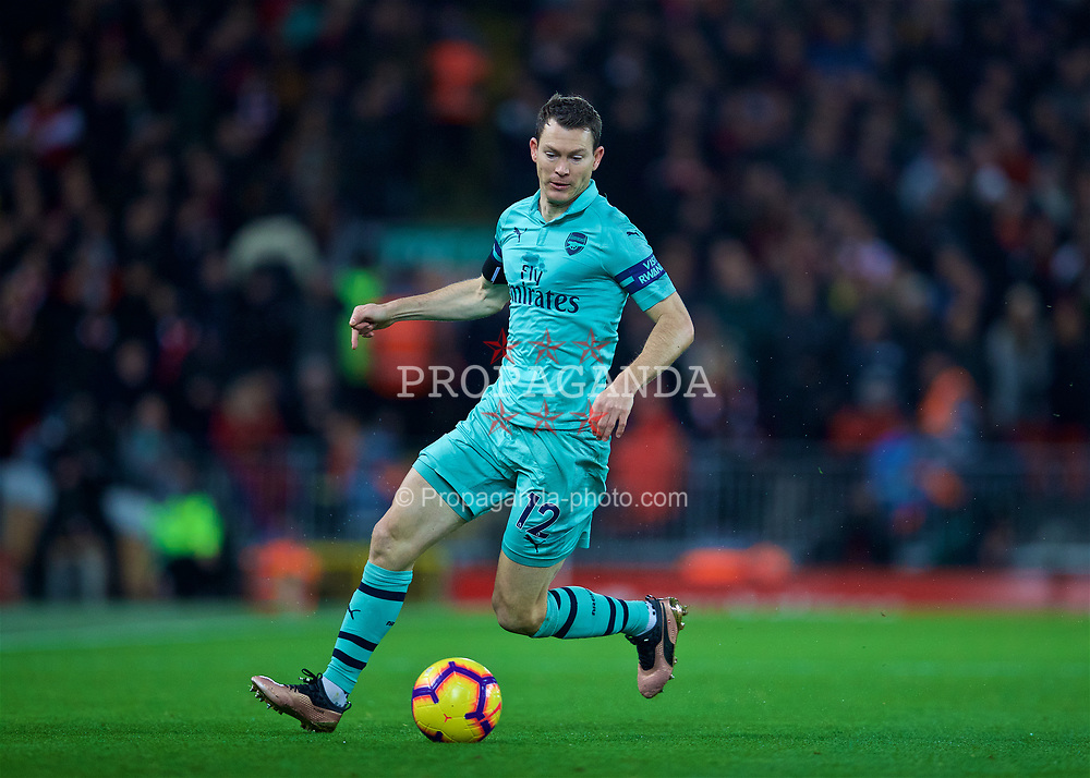 LIVERPOOL, ENGLAND - Saturday, December 29, 2018: Arsenal's Stephan Lichtsteiner during the FA Premier League match between Liverpool FC and Arsenal FC at Anfield. (Pic by David Rawcliffe/Propaganda)