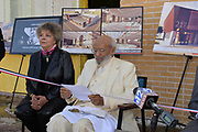 November 25, 2020 Jackson MS  Mississippi Pictured is James H. Meredith reading a statement about the future home of the  James Meredith Museum and Bible Society Headquarters as his wife Judy Alsobrooks Meredith looks on.  Native son and the first African American  American to attend the all white University of Mississippi, James Meredith cut a red, white and blue ribbon at the announcement for his Museum & Bible Society Mission HQ in Jackson Mississippi. The Meredith Museum and Bible Society HQ will house Meredith's archive of his 28 self published books, photographs and other artifacts of Merediths life, in addition to being a place where the teaching of Jesus Christ will be taught. It will also be a place where scholars can learn about Meredith, his life's work and his 3 missions from God. The first mission was for Meredith to destroy the white supremacy barrier at One Miss in 1962, the second Mission was to get Blacks to register to vote on his March Against Fear in 1966 and his 3rd Mission is to establish the Bible Society and Musem. Photos © Suzi Altman