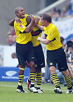 Fotball<br /> Bundesliga 2003/2004<br /> 02.08.2003<br /> NORWAY ONLY<br /> Foto: Uwe Speck, Digitalsport<br /> <br /> 2:1 Jubel Marcio AMOROSO , Flavio CONCEICAO , Stefan REUTER BvB<br /> Bundesliga FC Schalke 04 - Borussia Dortmund 2:2