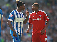 Brighton defender full back Gaetan Bong points an accusing finger at Cardiff City midfielder Kagisho Dikgacoi during the Sky Bet Championship match between Brighton and Hove Albion and Cardiff City at the American Express Community Stadium, Brighton and Hove, England on 3 October 2015. Photo by Bennett Dean.