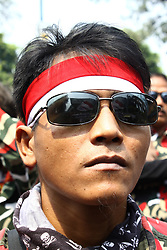 August 21, 2017 - Jakarta, Capital Region of Jakarta, Indonesia - Hundreds of Indonesian people who joined in Laskas Merah Putih, rallied in front of Malaysian Embassy in Jakarta, Monday, August 21, 2017. They are demanding malaysian Prime Minister, TUN NAJIB RAZAK to formally apologize to the Indonesian people for the incident that the Indonesian flag reverse into a White and Red as a Polandia flag, which printed in on guidebook in the Sea Games Olympics 2017 events, as well as other incidents that are considered harashing Indonesia. (Credit Image: © Aditya Irawan/NurPhoto via ZUMA Press)