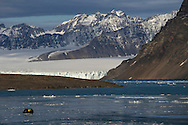Polar Quest tour group approaching the Smeerenburgglacier, Svalbard, Norway, Arctic