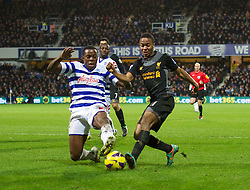 30.12.2012, Loftus Road, London, ENG, Premier League, Queens Park Rangers vs FC Liverpool, 20. Runde, im Bild Liverpool's Raheem Sterling in action against Queens Park Rangers' Nedum Onuoha during the English Premier League 20th round match between Queens Park Rangers and Liverpool FC at Loftus Road, London, Great Britain on 2012/12/30. EXPA Pictures © 2012, PhotoCredit: EXPA/ Propagandaphoto/ David Rawcliffe..***** ATTENTION - OUT OF ENG, GBR, UK *****