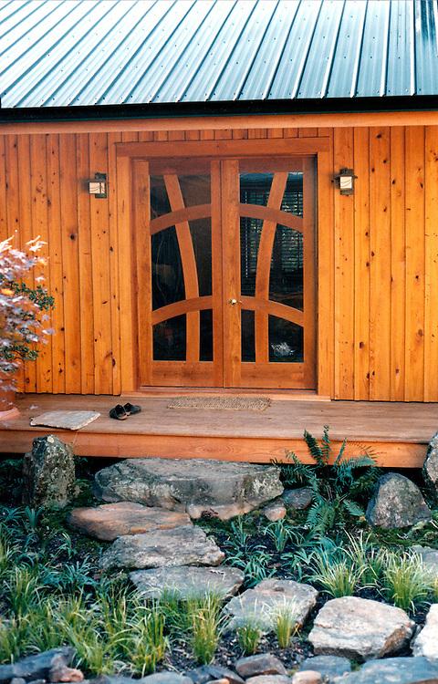 Entry door<br /> Cherry and glass<br /> Atlanta, Ga. custom doors, handmade