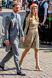 Princess Caroline's son Pierre Casiraghi with his wife Beatrice Borromeo at the wedding ceremony of heir of the throne of German House of Hanover, Prince Ernst August Jr. of Hanover, Duke of Braunscshweig and Lueneburg, and Russian designer Ekaterina Masysheva at the Marktkirche church in Hanover, Germany, 08 July 2017. The son of Prince Ernst August of Hanover Sen., who is married to Princess Caroline of Monaco, is related to several royal houses in Europe. The House of Hanover is a German royal dynasty that also ruled the United Kingdom between. Ernst-August Sr.'s own father (Ernst-August IV) opposed his son's marriage to first wife Chantal, a Swiss commoner. Photo by Robin Utrecht/ABACAPRESS.COM