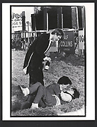 :Nick Straker, James Sainsbury & Kate Murray-Phillipson. Bullingdon Point to Point. Kingston Blount. Oxford. 13 February 1982. Exhibition in a Box