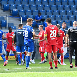 Stefan Posch (Hoffenheim, l.) nach dem Spielt mit Christopher Trimmel (Union Berlin, r.).<br /> <br /> Sport: Fussball: 1. Bundesliga: Saison 19/20: 33. Spieltag: TSG 1899 Hoffenheim - 1. FC Union Berlin, 20.06.2020<br /> <br /> Foto: Markus Gilliar/GES/POOL/PIX-Sportfotos<br /> <br /> Foto © PIX-Sportfotos *** Foto ist honorarpflichtig! *** Auf Anfrage in hoeherer Qualitaet/Aufloesung. Belegexemplar erbeten. Veroeffentlichung ausschliesslich fuer journalistisch-publizistische Zwecke. For editorial use only. DFL regulations prohibit any use of photographs as image sequences and/or quasi-video.