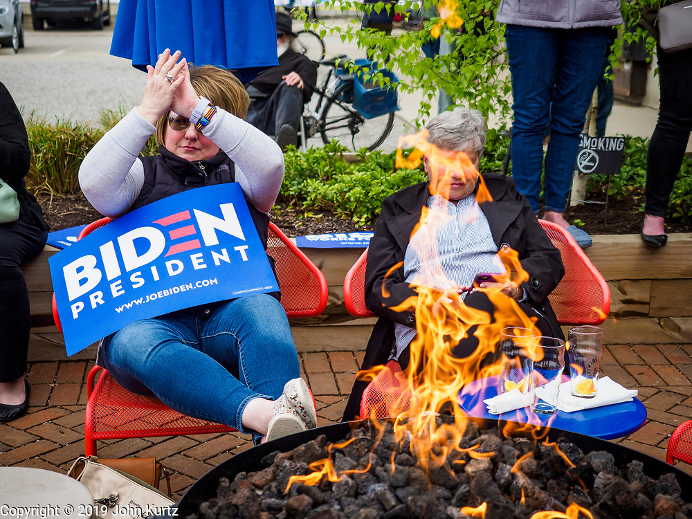 01 MAY 2019 - IOWA CITY, IOWA: People applaud during Joe Biden's campaign speech in Iowa City. Biden is running to be the Democratic nominee for the US Presidency in 2020. He is campaigning in Iowa City and Des Moines today. Iowa traditionally hosts the the first selection event of the presidential election cycle. The Iowa Caucuses will be on Feb. 3, 2020.             PHOTO BY JACK KURTZ