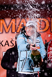 Slovenian athlete Petra Majdic  opens a champaign and celebrates with her home town when she arrived home with small cristal globus at the end of the nordic season 2008/2009, on March 24, 2009, in Dol pri Ljubljani, Slovenia. (Photo by Vid Ponikvar / Sportida)