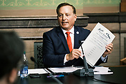 14 DECEMBER 2020 - DES MOINES, IOWA: PAUL PATE, Iowa's Secretary of State, holds up the Certificate of Vote of Electors for the State of Iowa while giving instructions to Iowa's Electors about the Electoral College vote. Iowa's six Electors met at the State Capitol Monday and voted for President Donald Trump and Vice President Mike Pence, cementing Trump's victory in Iowa. Trump carried Iowa by 8.2 percent in the November 3 general election.      PHOTO BY JACK KURTZ