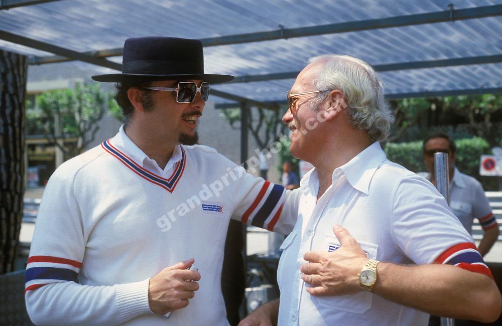 Essex boss David Thieme and Lotus-Ford team principal Colin Chapman in the pits before the 1981 Monaco Grand Prix. Photo: Grand Prix Photo