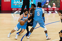 March 10, 2018 - Los Angeles, CA, U.S. - LOS ANGELES, CA - MARCH 10: LA Clippers guard Milos Teodosic (4) drives the ball to the middle of the court during the game between the Orlando Magic and the LA Clippers on March 10, 2018, at STAPLES Center in Los Angeles, CA. (Photo by David Dennis/Icon Sportswire) (Credit Image: © David Dennis/Icon SMI via ZUMA Press)