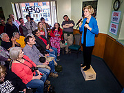 26 APRIL 2019 - TIPTON, IOWA: Sen. ELIZABETH WARREN (D-MA) talks to supporters during a campaign appearance in the Tipton Family Restaurant.  Sen. Warren is campaigning in eastern Iowa Friday. Iowa traditionally hosts the the first selection event of the presidential election cycle. The Iowa Caucuses will be on Feb. 3, 2020.                 PHOTO BY JACK KURTZ