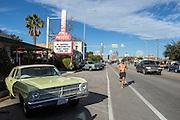 A runner on South Congress, Austin, near the Austin Motel