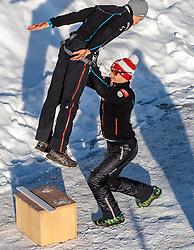 24.02.2017, Lahti, FIN, FIS Weltmeisterschaften Ski Nordisch, Lahti 2017, Nordische Kombination, Skisprung, im Bild Mario Seidl (AUT), Christopher Eugen (AUT, Trainer Nordische Kombination) // Mario Seidl of Austria Nordic Combined Headcoach Christopher Eugen of Austria during Skijumping of Nordic Combined competition of FIS Nordic Ski World Championships 2017. Lahti, Finland on 2017/02/24. EXPA Pictures © 2017, PhotoCredit: EXPA/ JFK