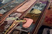 Nederland, Zuid-Holland, Rotterdam, 18-02-2015; Eerste Maasvlakte met aan de Mississippihaven Europees Massagoed Overslagbedrijf (EMO). Gespecialiseerd in de overslag van kolen en ijzererts. Links een kolentrein.<br /> <br /> EMO transhipment terminal for coal and iron ore and other dry bulk.<br /> luchtfoto (toeslag op standard tarieven);<br /> aerial photo (additional fee required);<br /> copyright foto/photo Siebe Swart