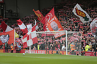 Football - 2018 / 2019 Premier League - Liverpool vs. Tottenham Hotspur<br /> <br /> The Kop in full voice before today's game, at Anfield.<br /> <br /> COLORSPORT/ALAN MARTIN