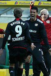 15.10.2011,  BorussiaPark, Mönchengladbach, GER, 1.FBL, Borussia Mönchengladbach vs Bayer 04 Leverkusen, im Bild.Michael Ballack (Leverkusen #13) (R) jubelt nach dem 2:2 mit Andre Schürrle (Leverkusen #9) (L) ..// during the 1.FBL, Borussia Mönchengladbach vs Bayer 04 Leverkusen on 2011/10/13, BorussiaPark, Mönchengladbach, Germany. EXPA Pictures © 2011, PhotoCredit: EXPA/ nph/  Mueller *** Local Caption ***       ****** out of GER / CRO  / BEL ******