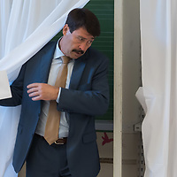 Janos Ader president of Hungary cast his vote during the European Parliamentary election in Budapest, Hungary on May 26, 2019. ATTILA VOLGYI