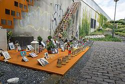 04.09.2015, Karl-Lehr-Strasse, Duisburg, GER, Gedenkstaette Loveparade Duisburg, im Bild Gedenkstaette am Zugang zum Veranstaltungsgelaende // The Loveparade memorial Karl-Lehr-Strasse in Duisburg, Germany on 2015/09/04. EXPA Pictures © 2015, PhotoCredit: EXPA/ Eibner-Pressefoto/ Hommes<br /> <br /> *****ATTENTION - OUT of GER*****