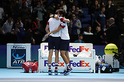 Nicolas Mahut and team mate Pierre-Hugues Herbert celebrate winning their doubles match against Horia Tecau and Jean-Julien Rojur during day one of the NITTO ATP World Tour Finals at the O2 Arena, London.