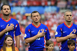 Josip Simunic, Ivica Olic and Mladen Petric of Croatia listening to the national song before the UEFA EURO 2008 Group B soccer match between Austria and Croatia at Ernst-Happel Stadium, on June 8,2008, in Vienna, Austria.  (Photo by Vid Ponikvar / Sportal Images)