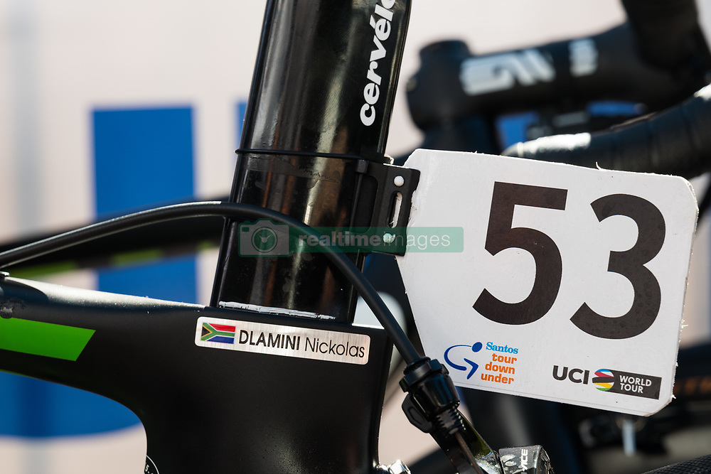 January 18, 2018 - Glenelg, South Australia, Australia - Nicolas Dlamini's bike number at the start of Stage 3, Glenelg to Victor Harbor, of the Tour Down Under, Australia on the 18 of January 2018  (Credit Image: © Gary Francis via ZUMA Wire)