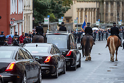 © Licensed to London News Pictures. 14/10/2019. Oxford, UK. A funeral cortege makes it way through Oxford city centre for the funeral of Thames Valley Police officer PC Andrew Harper. Photo credit: Peter Manning/LNP