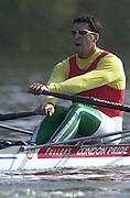 Peter Spurrier Sports  Photo.email pictures@rowingpics.com.Tel 44 (0) 7973 819 551..Photo Peter Spurrier.29/03/2002.2002 Thames World Sculling Challenge.Akos Haller HUN [Mandatory Credit Peter Spurrier; Intersport Images]