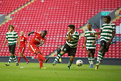 LIVERPOOL, ENGLAND - Wednesday, August 17, 2011: Liverpool's Stephen Sama in action against Sporting Clube de Portugal during the first NextGen Series Group 2 match at Anfield. (Pic by David Rawcliffe/Propaganda)