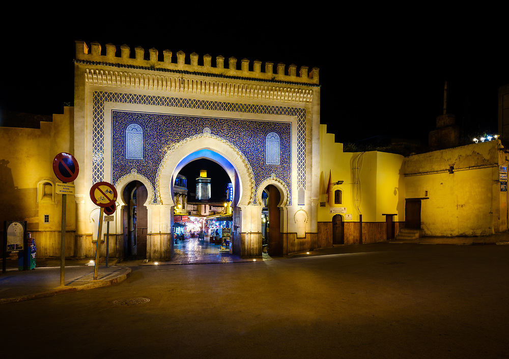 FEZ, MOROCCO - CIRCA MAY 2018:  View of the Bab Bou Jeloud, also known as  The Blue Gate at Night in Fez. Camera: Fujifilm GFX 50S, Lens: GF23mm F4 R LM WR, Focal Length 23mm, Iso: 200, Aperture: F 16.0, Shutter Speed: 13 Secs