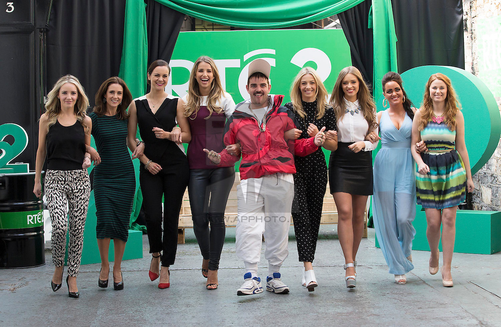 Repro Free: 11/09/2014<br /> Andy Quirke a.k.a. Damo from Damo and Ivor is pictured with Carla O'Brien, Maia Dunphy, Hilary Rose, Vogue Williams Bláthnaid Treacy, Diana Bunici, Kelly McDonagh Mongan and Orla Walsh at the RTÉ Two New Season Launch in Gateway House, Capel Street. Picture Andres Poveda