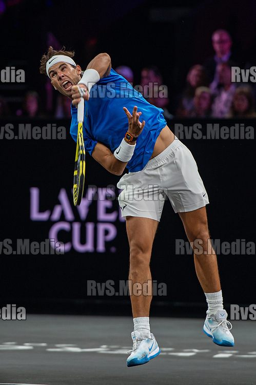 GENEVA, SWITZERLAND - SEPTEMBER 21: Rafael Nadal of Team Europe in action during Day 2 of the Laver Cup 2019 at Palexpo on September 21, 2019 in Geneva, Switzerland. The Laver Cup will see six players from the rest of the World competing against their counterparts from Europe. Team World is captained by John McEnroe and Team Europe is captained by Bjorn Borg. The tournament runs from September 20-22. (Photo by Monika Majer/RvS.Media)