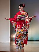 Nishijin Textile Center regularly presents beautiful kimono fashion shows, in Kyoto, Japan.