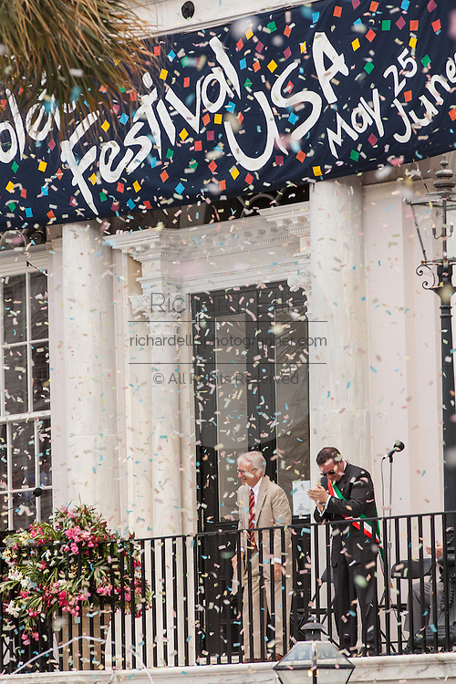 Charleston Mayor Joseph P. Riley bows with Mayor Daniele Benedetti of Spoleto, Italy as confetti rains down marking the start of the Spoleto Festival USA on May 25, 2012 in Charleston, South Carolina. The 17-day performing arts festival will include more than 140 performances on stages throughout Charleston.