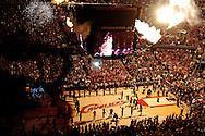 Pyrotechnics are used before the beginning of the game..The Cleveland Cavaliers defeated the Boston Celtics 88-77 in Game 4 of the Eastern Conference Semi-Finals at Quicken Loans Arena in Cleveland.