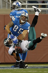 DETROIT - SEPTEMBER 19: Safety Nate Allen #29 of the Philadelphia Eagles intercepts a pass in front of tight end Tony Scheffler #85 of the Detroit Lions on September 19, 2010 at Ford Field in Detroit, Michigan. The Eagles won 35-32. (Photo by Drew Hallowell/Getty Images)  *** Local Caption *** Nate Allen;Tony Scheffler