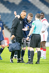 Queen's Park Scott Gibson goes off injured. Queen's Park 2 v 1 Airdrie, Scottish Football League Division One game played 7/1/2017 at Hampden.