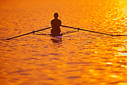 Rowing on Lake Ramsey at sunrise<br />Greater Sudbury<br />Ontario<br />Canada