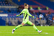Cardiff City's Goalkeeper Alex Smithies (12) takes a goal kick during the EFL Sky Bet Championship match between Cardiff City and Barnsley at the Cardiff City Stadium, Cardiff, Wales on 3 November 2020.