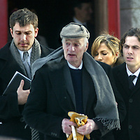 Ben Affleck, Casey Affleck and Jennifer Lopez leave a Brookline,MA church funeral after  the funeral for his grandmother. Photo by Mark Garfinkel