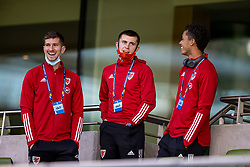 DUBLIN, REPUBLIC OF IRELAND - Sunday, October 11, 2020: Wales' Chris Mepham, Ben Woodburn and Brennan Johnson during the UEFA Nations League Group Stage League B Group 4 match between Republic of Ireland and Wales at the Aviva Stadium. The game ended in a 0-0 draw. (Pic by David Rawcliffe/Propaganda)