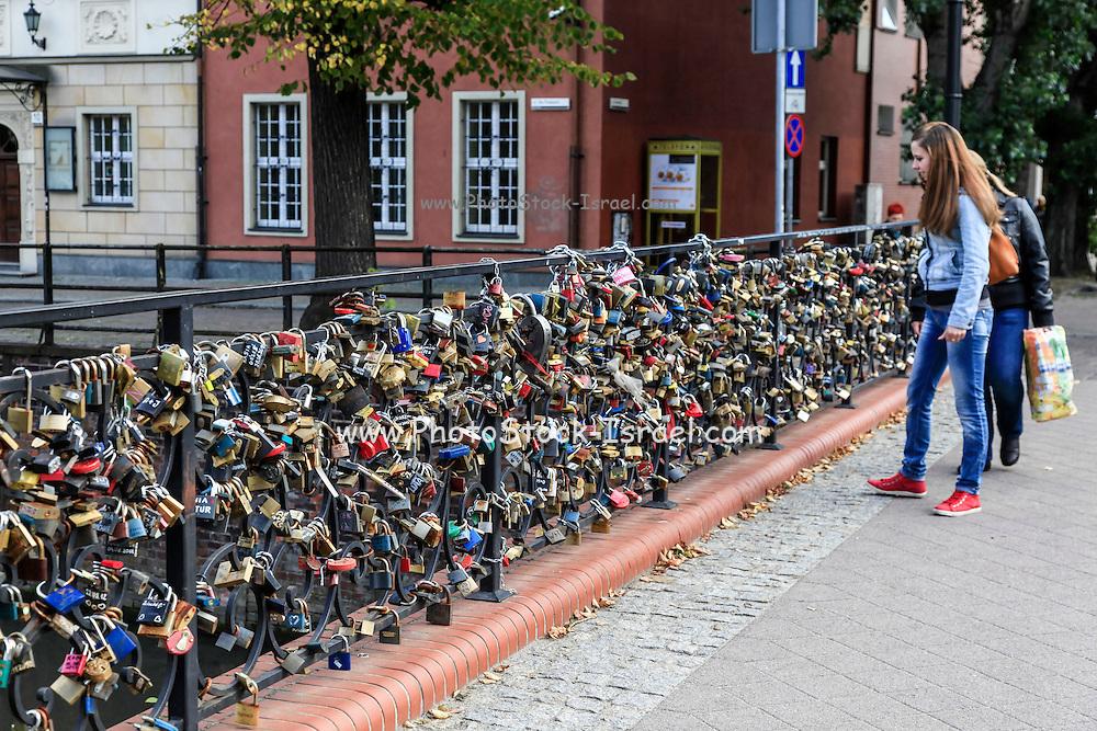 Love locks on a bridge in Gdansk