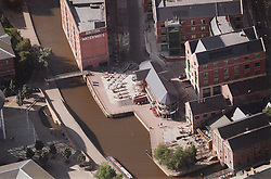 Aerial view of Nottingham canal, Canal museum at bottom right and new leisure developments to right of canal,