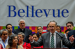 June 23, 2017 - New York, United States - Senator Chuck Schumer held a press conference at Bellevue Hospital in Manhattan expressing his commitment to fight Trumpcare. (Credit Image: © Erik Mcgregor/Pacific Press via ZUMA Wire)