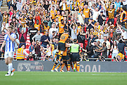 Hull City midfielder Mohammed Diame (17) is congratulated after his goal 1-0 during the Sky Bet Championship Play-Off Final between Hull City and Sheffield Wednesday at Wembley Stadium, London, England on 28 May 2016. Photo by Phil Duncan.