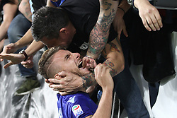 October 14, 2017 - Turin, Italy - Lazio forward Ciro Immobile (17) celebrates victory with Lazio supporters after the Serie A football match n.8 JUVENTUS - LAZIO on 14/10/2017 at the Allianz Stadium in Turin, Italy. (Credit Image: © Matteo Bottanelli/NurPhoto via ZUMA Press)