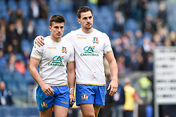 March 17, 2018 - Rome, Italy - Tommaso Allan of Italy and Mattia Bellini of Italy look dejected at the end of the NatWest 6 Nations Championship match between Italy and Scotland at Stadio Olimpico, Rome, Italy on 17 March 2018. (Credit Image: © Giuseppe Maffia/NurPhoto via ZUMA Press)