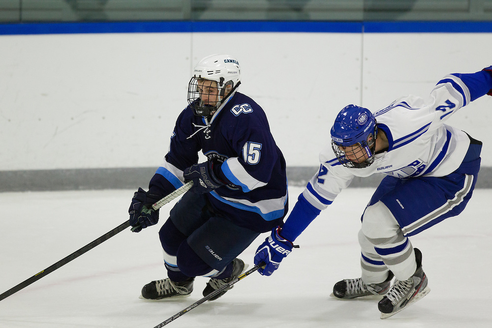 Jack Burton, of Colby College, in a NCAA Division III hockey game against Connecticut College on December 7, 2013 in Waterville, ME. (Dustin Satloff/Colby College Athletics)
