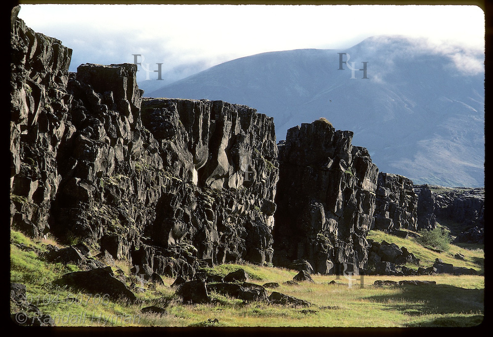 Vikings used Logberg wall, part of huge rock fault, to cast voice to parliament crowd; Thingvellir Iceland